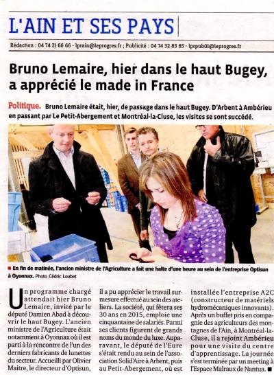 Bruno Lemaire chez Optisun fabricant français de lunettes